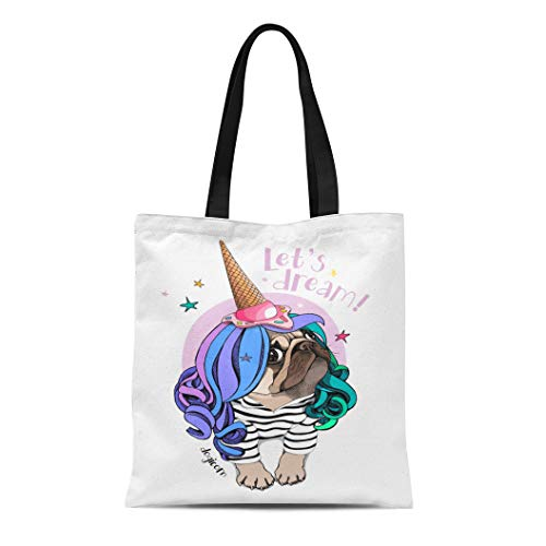 (Semtomn Canvas Bag Resuable Tote Grocery Adorable Shopping Portablebags Pug Dog in Striped Cardigan Color Wig Ice Cream Party Cap Let Dream Lettering Natural 14 x 16 Inches Canvas Cloth)