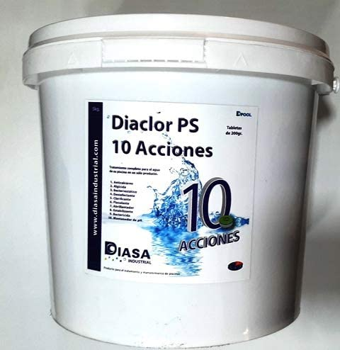 DIACLOR PS 10 ACCIONES 5 Kg .Tratamiento Completo para el Agua de la Piscina