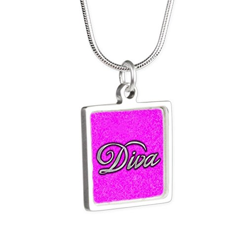 Silver Square Necklace Pink Diva Princess by Royal Lion