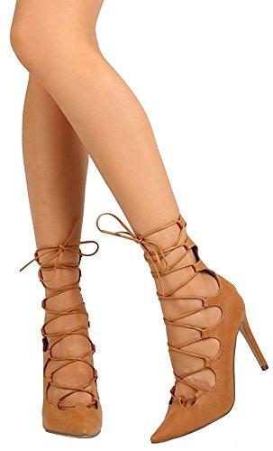 Breckelles Womens Pointu Près Toe Lacets Cheville Strappy Ghillie Stiletto Talon Tan