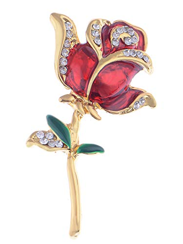 Alilang Womens Belle Red White Purple Violet Rose Flower Enamel Crystal Rhinestone Brooch Pin Golden Tone (Red & Golden)
