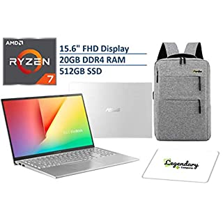 "2020 ASUS VivoBook 15 15.6"" FHD Display Laptop Computer, AMD Ryzen 7-3700U, 20GB RAM, 512GB PCIe SSD, AMD Radeon RX Vega 10, Webcam, HDMI, Windows 10, Silver + Lengendary Backpack & Mousepad"