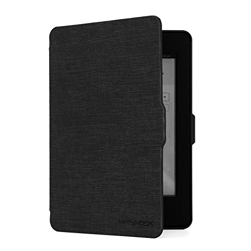 NIFTYNOOK Leather Smart Case for Amazon Kindle Paperwhite 1/2/3 w/ Auto Sleep/Wake (Fit for all versions: Year 2012,2013,2014 and 2015 All-new 300 PPI Verson) Black (Paperwhite 1)