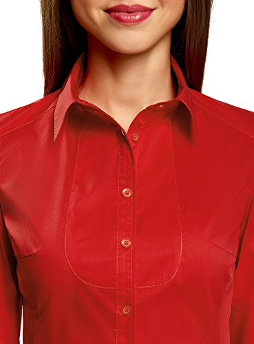 Chemisier Collection Rouge 4500n Plastron Coton Femme oodji vnwTqR6SR