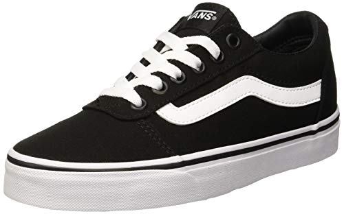 Vans Women's Ward Canvas Low-Top Sneakers, Black ((Canvas) Black/White 187), 3.5 - Vans Old School Shoes