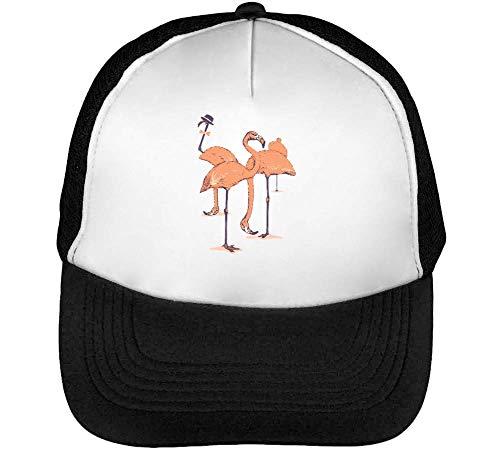 Flamingos Gorras Hombre Snapback Beisbol Negro Blanco