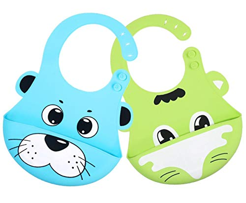 Silicone Baby Bibs, Taisk Waterproof Toddles Bibs | Wipes Clean Easily, Soft, Unisex, Adorable | Wide Pocket Stays Open and Catches Everything | Perfect Baby Gift Green Blue(2 Pack)