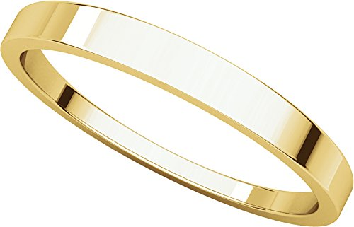 Mens 18K Yellow Gold, Flat Tapered Wedding Band 2.5MM (sz 6.5)
