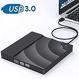 External CD DVD Drive,IVKEY USB 3.0 Slim Portable External CD DVD Rewriter Burner Writer, High Speed Data Transfer Touch Control External USB Optical Drives for Laptop/Macbook/Desktop/MacOS/Win10/8/7