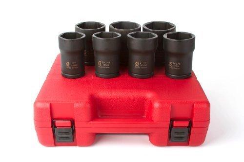 Sunex 4667 3/4-Inch Drive Truck Pinion Locknut Impact Socket Set, 7 piece by Sunex