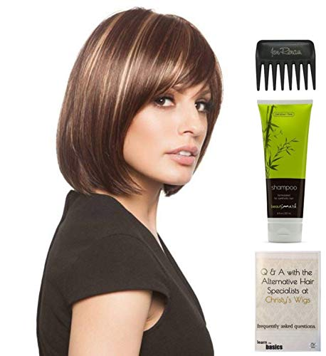 Bundle - 4 items: Erika Wig by Amore, Christy's Wigs Q & A Booklet, BeautiMark Synthetic Shampoo & Wide Tooth Comb - Color: SILVER STONE