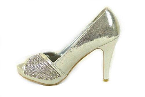 SKO'S Womens Ladies Wedding Diamante Prom Low Mid High Heel Bridal Court Shoes Size Silver (567-7) AURtq3T