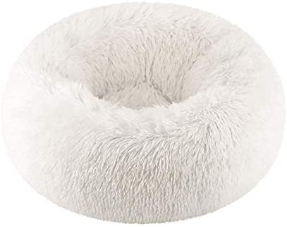 Amazon Com Vivi Bear Cat Bed Dog Bed Round Pet Nest Extra Soft Comfortable Cute Cat Cushion Bed Washable Oval Donut Nesting Cave Bed Suitable For Cats And Small Medium Dogs White 15 8in