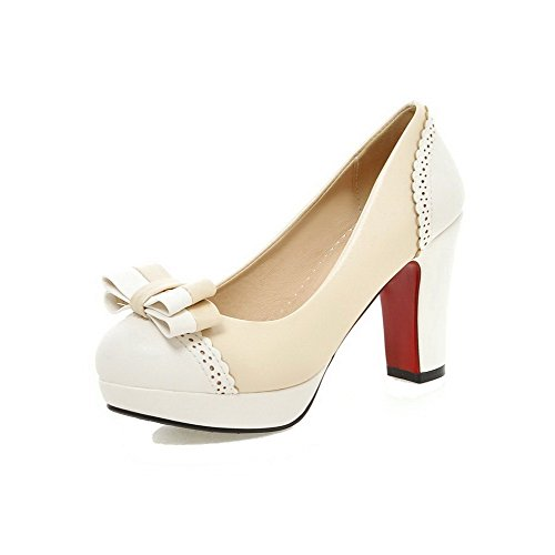 VogueZone009 Women's PU Assorted Color Pull-On Round Closed Toe High-Heels Pumps-Shoes Beige juC9M98LcP