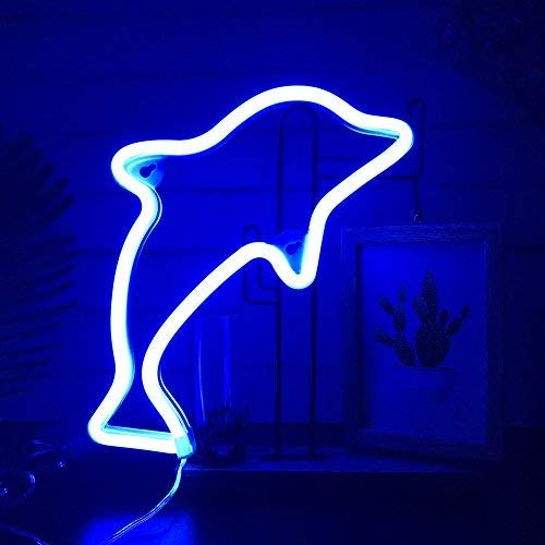 (QiaoFei Neon Light,LED Dolphin Sign Shaped Decor Light,Wall Decor for Christmas,Birthday Party,Kids Room, Living Room, Wedding Party Decor(Blue))