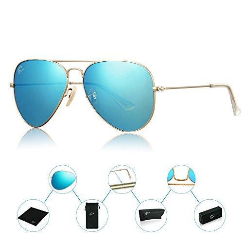 ESPIRO Premium Mirrored Aviator Sunglasses For Men Women Flash Mirror Lens UV400 - 55mm Sunglasses