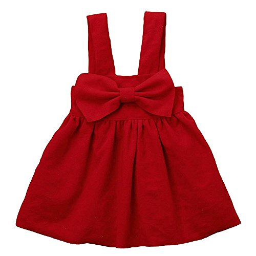 BabiBeauty Toddlor Baby Girls Skirt Bowknot Suspenders Braces Dress (Red, 110/3-4 Years) by BabiBeauty