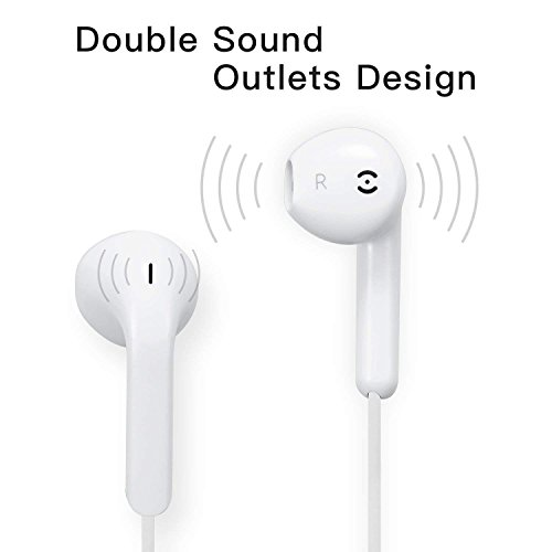 Earbuds,XiQIN Headphones with Microphone New Earphones for apple iPhone 6s 6 Plus 5s 5 4s 4 SE iPad iPod 7 8 IOS S8 S7 S6 Note 1 2 3 Earbuds Earphones 2 pack Headphones Earpods by XiQIN (Image #1)