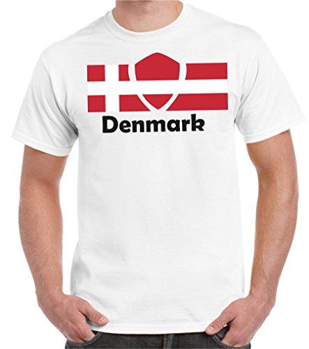 Dänemark Participants 2store24 Tous Du Monde Pays Coupe Les Football Surdimensionné Drapeau Hommes 2018 Blanc 5xl shirt T S qqUaCp