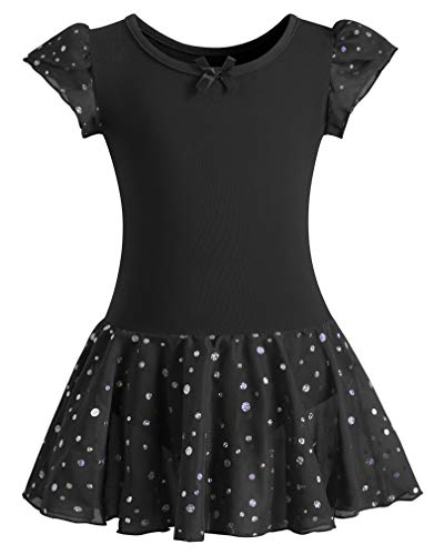 DANSHOW Girls Glitter Leotards for Ballet Dance Dress with Tutu Skirt Petal Sleeve(8-10years,Black)