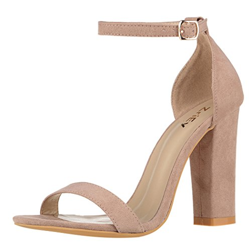ZriEy Women's Chunky Block Strappy High Heel Pump Sandals Fashion Ankle Strap Open Toe Shoes