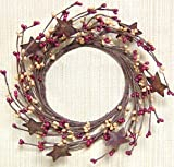 Burgundy & Old Gold Pip Berry Ring Wreath Rusty Stars Country Primitive Floral Décor