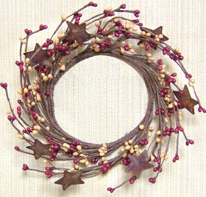 Burgundy & Old Gold Pip Berry Ring Wreath Rusty Stars Country Primitive Floral (Primitive Berry)