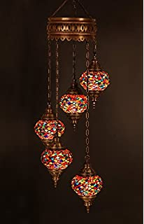 Chandelier, Ceiling Lights, Turkish Lamps, Hanging Mosaic Lights, Pendant,  Red Glass