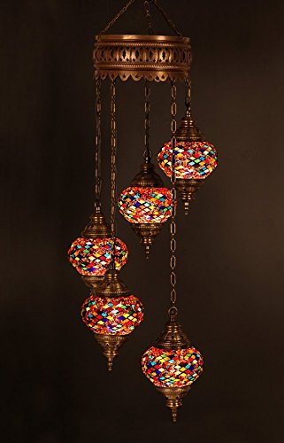 Charming Chandelier, Ceiling Lights, Turkish Lamps, Hanging Mosaic Lights, Pendant,  Red Glass, Color Glass, Moroccan Lantern, 5 Bulbs, Express Shipping