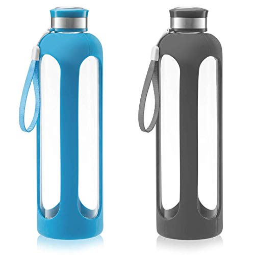 SWIG SAVVY Glass Water Bottles with Protective Silicone Sleeve & Stainless Steel Leak Proof Lid - Wide Mouth Reusable Drinking Container - BPA & Plastic Free - 32 oz|Blue & Gray - 2 Pack