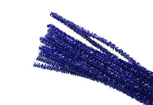 Set of 100 Metallic Tinsel Pipe Cleaners for Kids Crafts, Embellishing and Group Projects Choose Color (Royal Blue)]()