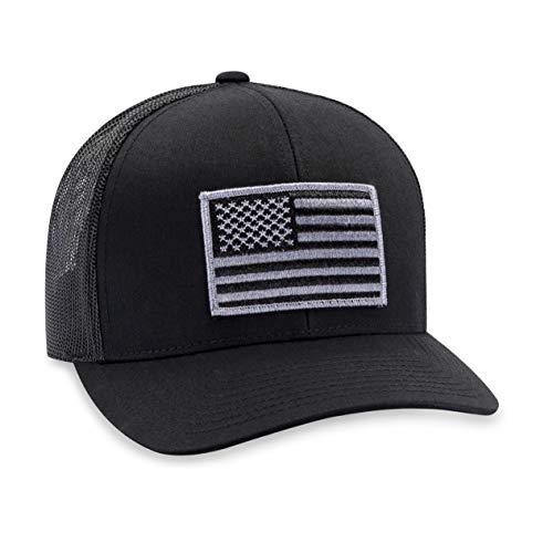 American Flag Hat USA - Trucker Mesh Snapback Baseball Cap (Black & Gray)