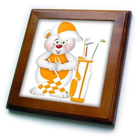 3dRose Anne Marie Baugh - Illustrations - Cute Orange and White Golfing Bear Illustration - 8x8 Framed Tile (ft_318012_1)