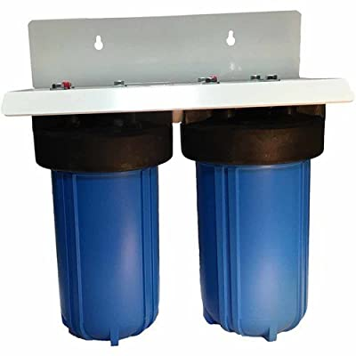"10"" 2 Stage Big Blue Whole House Complete Water Filter System with 4.5"" diameter Sediment and Carbon Filters"