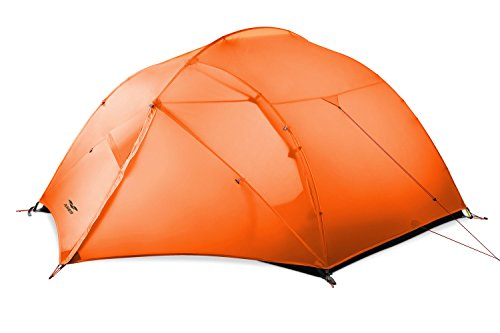 MIER Lightweight 3 Person Backpacking Tent Double Layer Waterproof Tent for Hiking, Camping, Climbing, 4 Season, Orange
