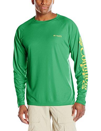 Columbia Men's Terminal Tackle Long Sleeve Shirt, Emerald City/Sunlit Logo, X-Large