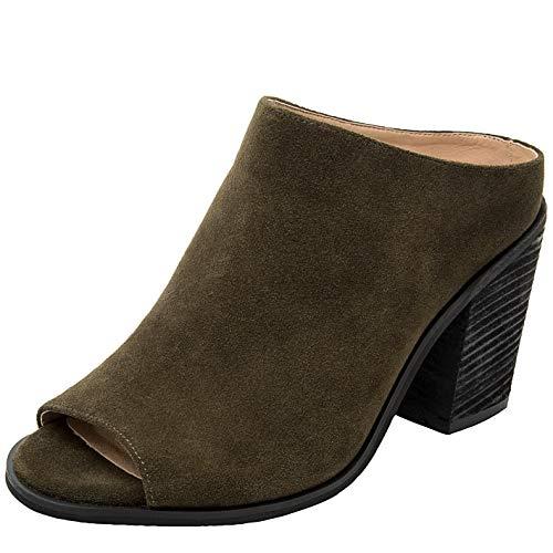 9aee47f44c11 Women s Wide Width Heeled Sandals - Classic Low Block Heel Open Toe Ankle  Strap Suede Summer