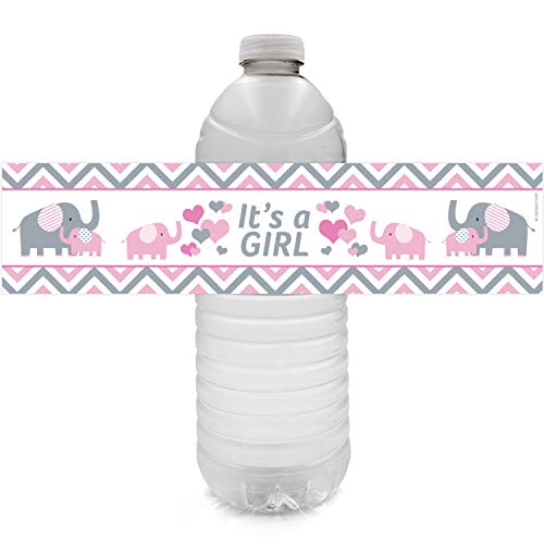 Pink and Gray Elephant Girl Baby Shower Water Bottle Labels | 24 Stickers