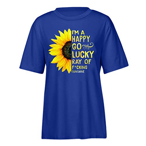 (Pengy Sunflower Top Women Fashion Rise and Shine Graphic Tee Summer Letter Print Short Sleeve T-Shirt Blue)