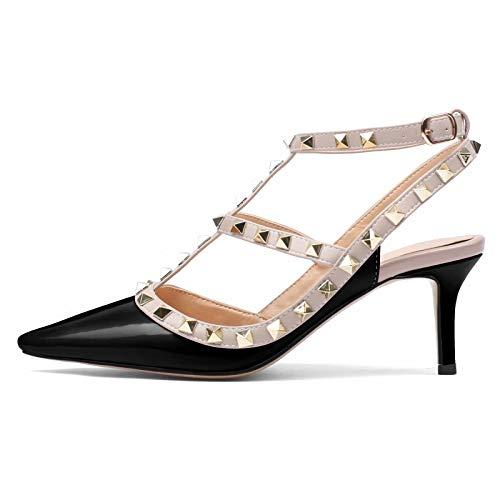 CAITLIN-PAN Women's Stud Kitten Heels Pointed Toe Studded Strappy Slingback Buckle Heels Leather Pumps Stilettos Heeled Sandals Black Size -