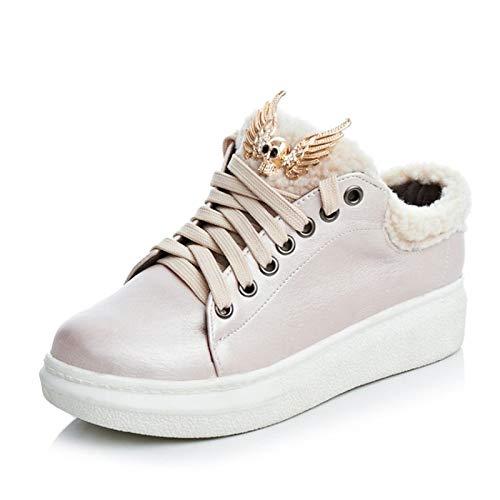 Tacco camminata Comfort donna Stivaletti Sneakers ZHZNVX da Similpelle Argento Rosa Inverno Punta Scarpe Bianco Pink da Scarpe White stivaletto Autunno piatto amp; awxP7w0