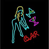 Bar Girl Neon Signs, 24(w) x 24(h) inch Neon Lights made with Real Glass Tube, Beautiful Decoration as Bar Signs