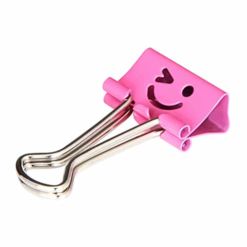 NUOLUX Binder Clips Metal Smiley Face File Paper Clip