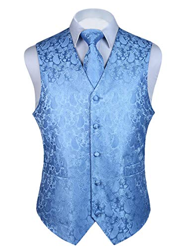 HISDERN 3pc Men's Paisley Floral Jacquard Waistcoat & Necktie and Pocket Square Vest Suit Set Baby Blue