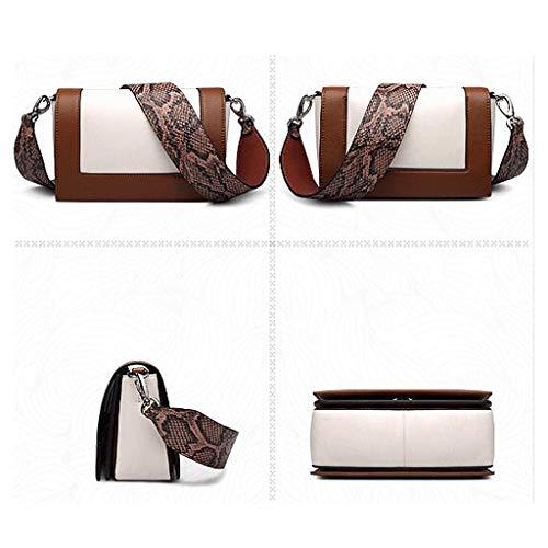 del de Hombro Contraste Cuero Brown Color Las de Mujeres Brown Color Bolso q7U4S6tS