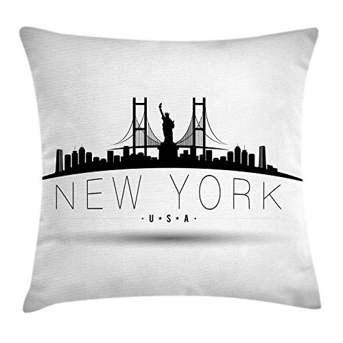 NBTJZT NYC Throw Pillow Cushion Cover, New York USA Calligraphy with Brooklyn Bridge Liberty Statue Silhouettes,Pillowcase 18X18 Inch, Pale Grey Charcoal Grey]()