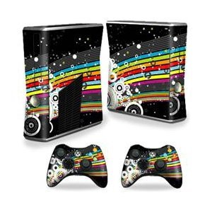 - MightySkins Skin Compatible with Microsoft Xbox 360 S Slim + 2 Controller Skins wrap Sticker Skins Color Blast