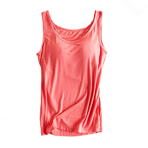 Womens Modal Built-in Bra Padded Camisole Yoga Tanks Tops Watermelon Red XXL