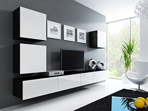 Jadella Wohnwand ' Vigo 22' Hochglanz Hängeschrank Lowboard Cube, Farbe:schwarz matt/weiß Hochglanz