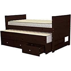 Bedz King Captains Twin Bed with Twin Trundle and 3 Drawers, Cappuccino